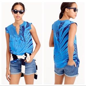 J Crew blue V-neck banded-sleeve top palm frond